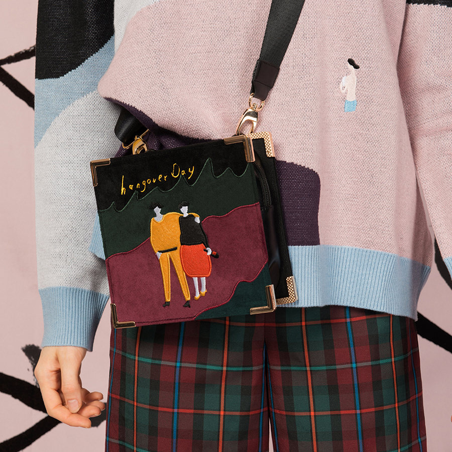 YIZISTORE vintage PU leather splicing felt embroidery retro messenger bags for women in One Day 2 series 2018[FUN KIK]