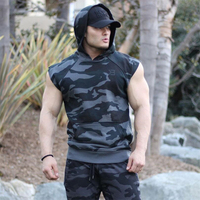 2019 Men Bodybuilding Tank Tops Gyms Fitness Workout Sleeveless Hoodies Man Casual Camouflage Hooded Vest Male Camo Clothing