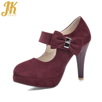JK High Heels Ladies Pumps 2018 Brand Spring Sweet Female Platform Shoes Butterfly Knot Round Toe Spike Heels Crystal Footwear