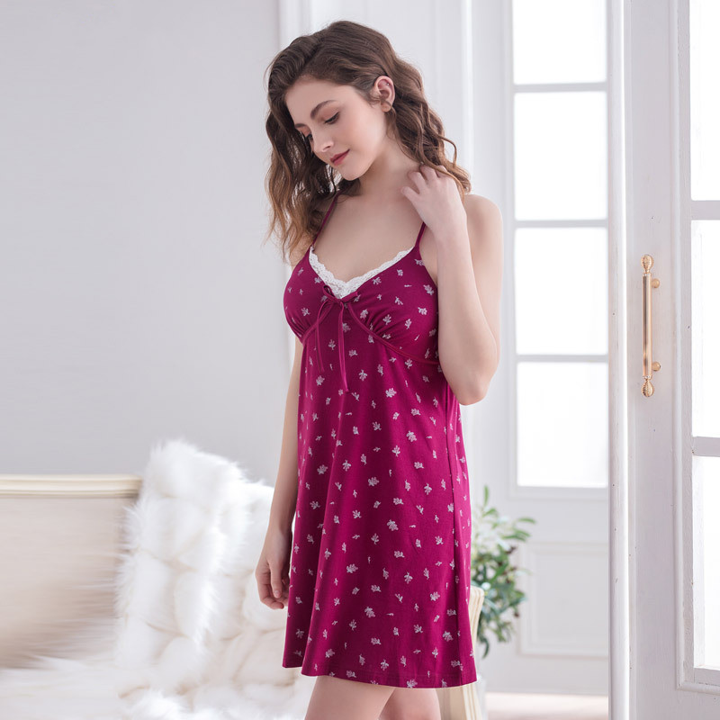 2018 Summer Gecelik Nightwear Women Sexy V-Neck Lace Trim Drawstring Chemise   Nightgown   Sleepwear   Sleepshirt   Nightdress