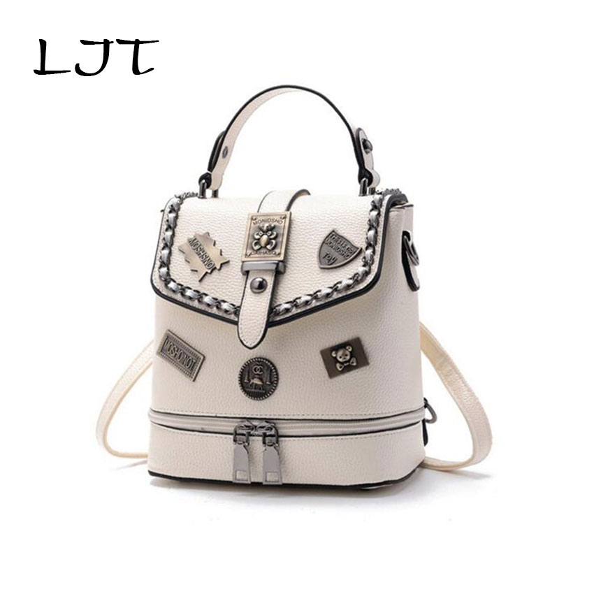 LJT 2017 New Women Badge Shoulder Bag Students School Bag Women Mini Backpack Korean Lady Casual