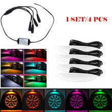 4pcs/lot Tire Atmosphere Lamps LED Decoration lights Car Wheel Eyebrow Light car body modified Exterior ambience light 12V 24V 4 in 1 tire atmosphere lamps car wheel eyebrow lights car styling high quality led exterior ambience light tyre decoration