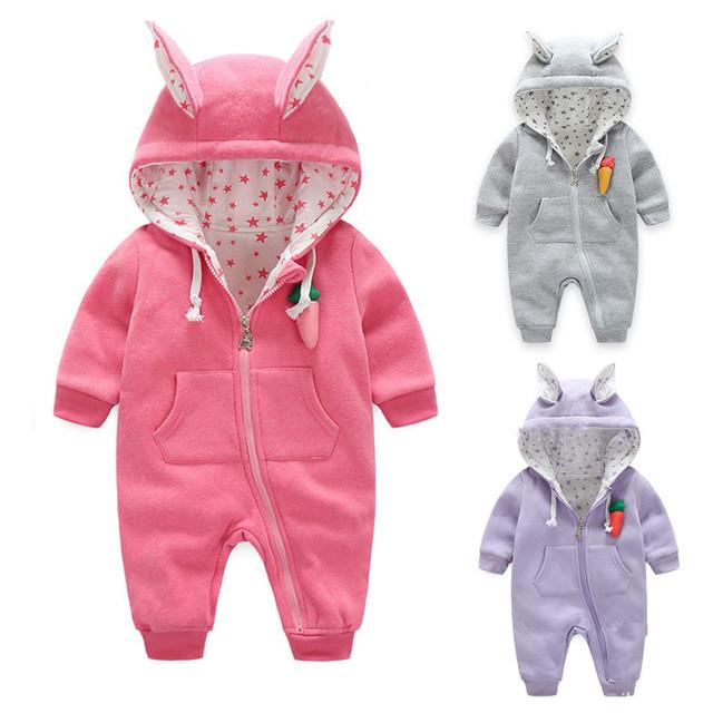 Invierno Recién Nacido Del Bebé Mamelucos Gruesos Encapuchados Infantil Del Bebé traje para la Nieve de Los Bebés Mono Del Mameluco Ropa de Bebé de Algodón acolchado General