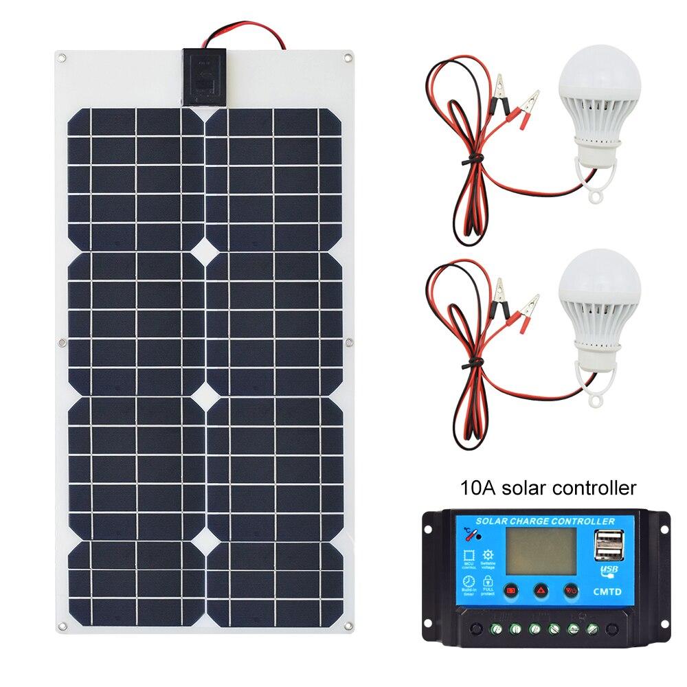 30 W 18 V Flexible Panneau Solaire + 12v24V 10A USB contrôleur + 5 w 12 v LED Lumière Solaire chargeur Batterie pour Voiture Bateau Système Solaire kits