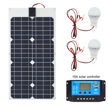 30W 18V Flexible Solar Panel+12v24V 10A USB controller+5w 12v Led Light Charger Battery for Car Boat System kits