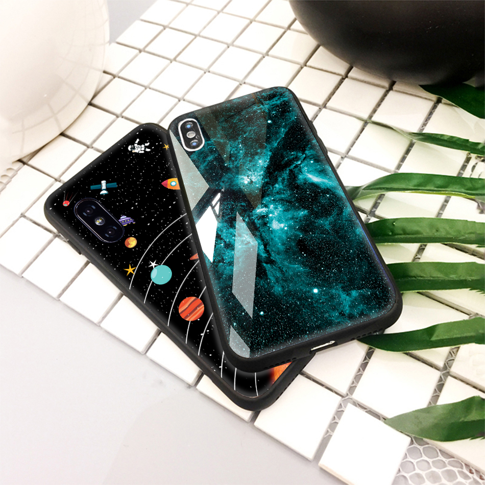 TOMKAS Tempered Glass Silicone Case For iPhone XS Max XR Star Space Cover Phone Case For iPhone X S XS Plus XR 10 Luxury Cases X (19)