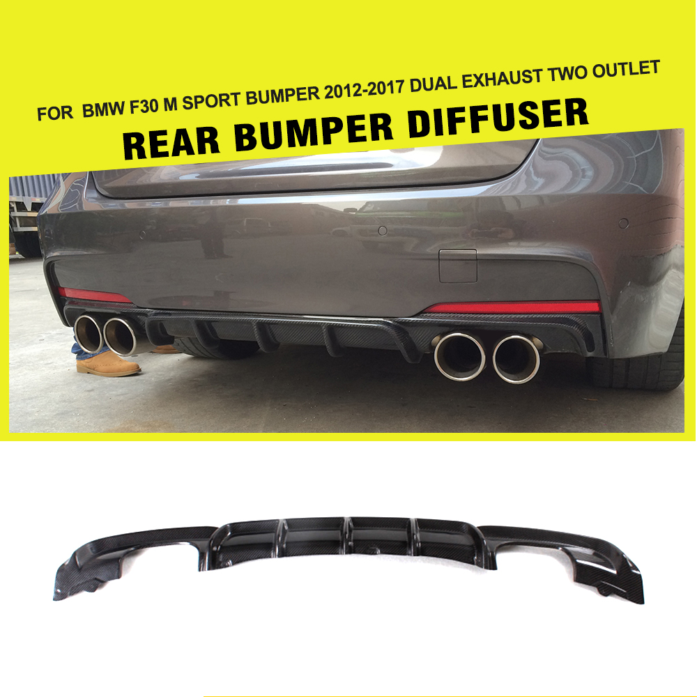 Carbon Firber /FRP Car Styling Rear Diffuser Lip Spoiler For BMW F30 M Sport bumper 2012-2017 dual exhaust two outlet