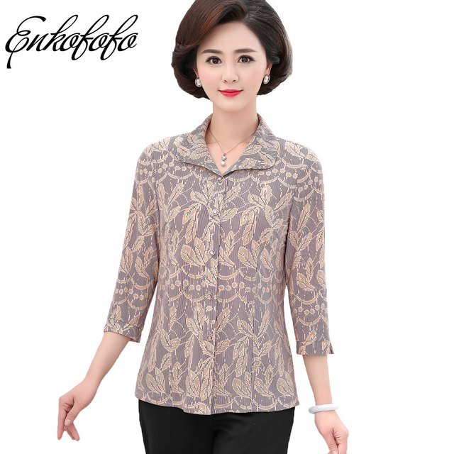 cccc820918bf5 Enkofofo Silk Print Blouse Women Casual Summer Middle Age Loose Shirt Blusa  Feminina Womens Tops and Blouses Plus Size 5XL 6XL