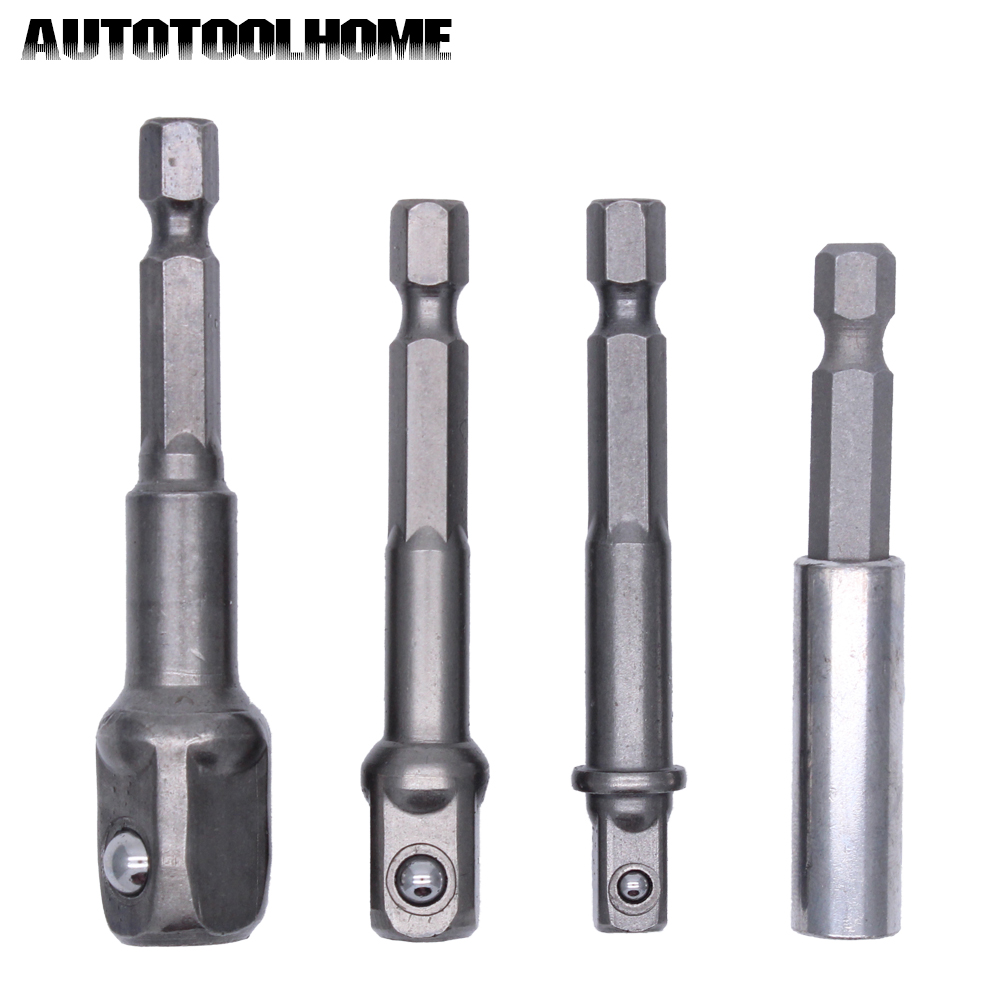 4pcs/Set HSS Hex Magnetic Socket Bit Driver Set Impact Adapter Drill Bits Square Head Sleeve With Extension Bar Rod Holder 3pcs cr v socket bit driver impact adapter reducer
