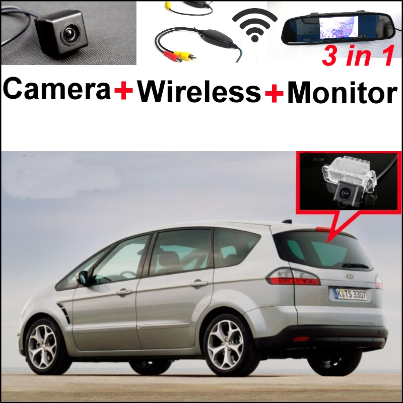 3 in1 Special Camera + Wireless Receiver + Mirror Monitor Easy DIY Parking System For Ford S-Max S Max Smax 2010~2014 wireless pager system 433 92mhz wireless restaurant table buzzer with monitor and watch receiver 3 display 42 call button