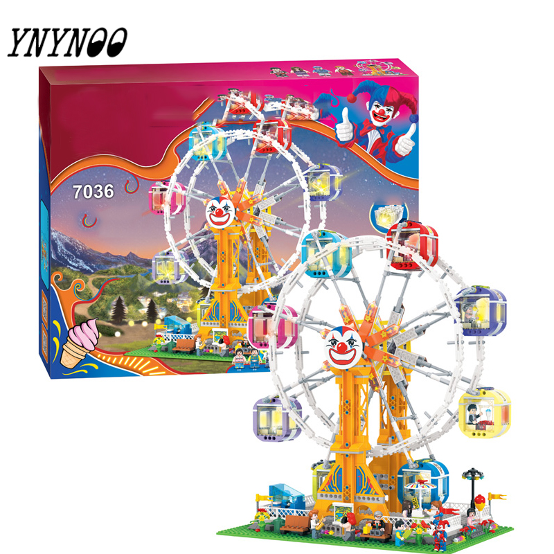(YNYNOO)City Series Girl Friends Modern Paradise Ferris wheel With Lighting series  Building Block Toys Compatible with ynynoo lepin 02043 stucke city series airport terminal modell bausteine set ziegel spielzeug fur kinder geschenk junge spielzeug