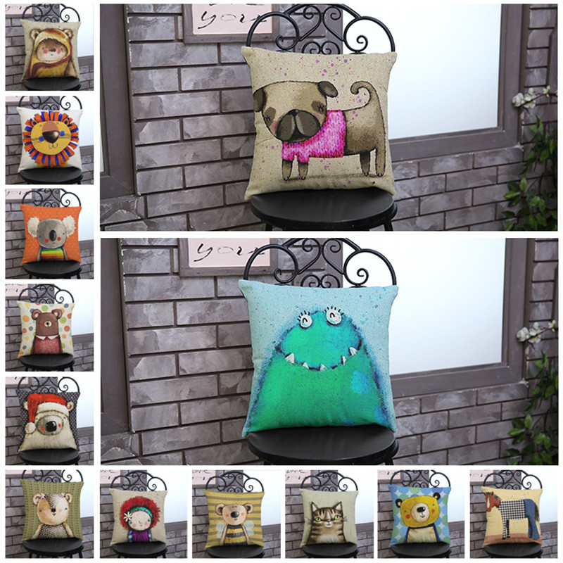 Cartoon animals cat dog lion monster Pillow case Cushion Cover chair office seat Home coffee shop Decoration children room gift