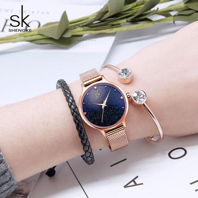 Shengke Fashion Watches Women Brand Luxury Quartz Clock Las Rose Gold Wrisch Relojes Mujer 2018 Sk