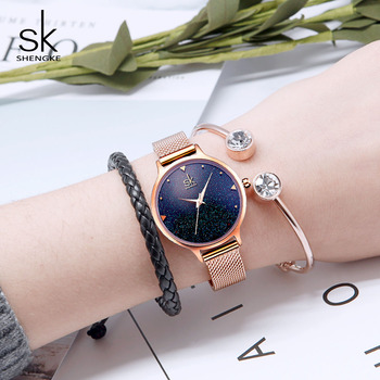 цена Shengke Fashion Watches Women Set Brand Luxury Quartz Clock Ladies Rose Gold Wristwatch Reloj Mujer 2019 SK Watch with Bracelets онлайн в 2017 году