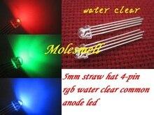 1000pcs 5mm 밀짚 모자 4 핀 투명한 3 색 RGB 일반적인 양극 빨강 녹색 파란 LED Leds 물 명확한 led 렌즈