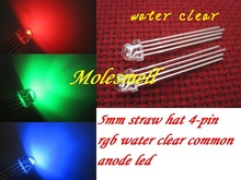 1000pcs 5mm Straw Hat 4 Pin Transparent Tri Color RGB Common Anode Red Green Blue LED Leds water clear led lens