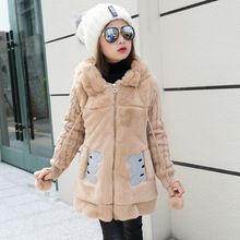Girl's Winter imitation fur coat 2017 Girls Faux fur coat children baby clothes Kid Thick Plus velvet coat Wholesale