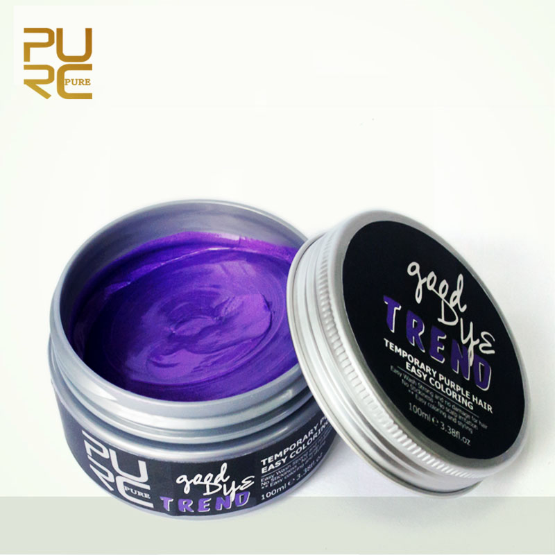 PURC 100g Disposable Romantic Purple Color Hair Wax Mud Modeling Hair Coloring Styling Dye Cream Washable Temporary Use