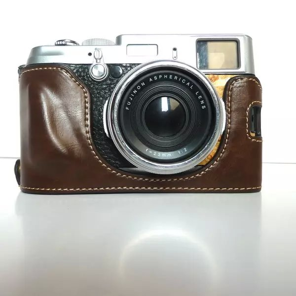 Retra Vintage Leather Bottom Camera Bag <font><b>Case</b></font> for Fujifilm <font><b>Fuji</b></font> X100 <font><b>X100S</b></font> X100T Camera Half Cover with Strap Coffee Color image