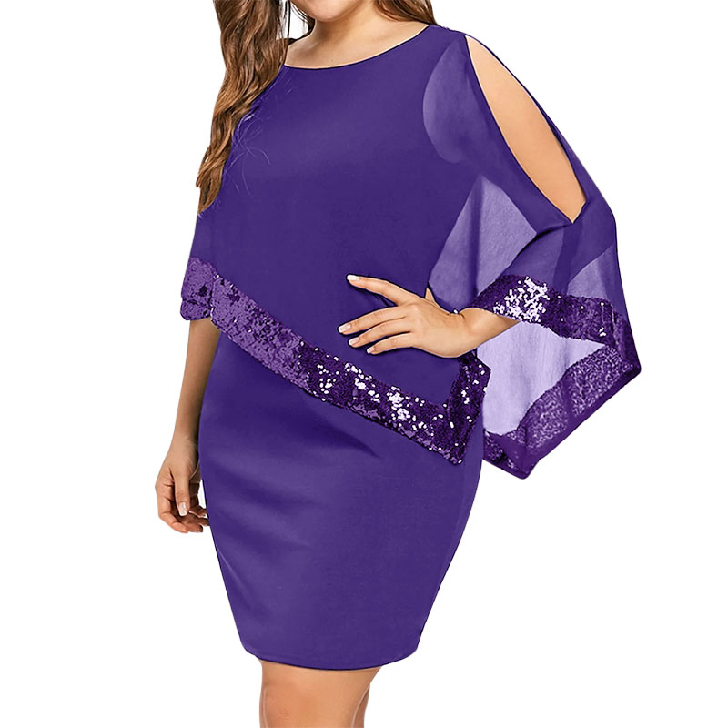 Wipalo Sexy Sequined Overlay Capelet Dress 2019 Dress O-Neck Short Sleeve Women Bodycon Party Dresses Vestidos Robe Femme 5XL