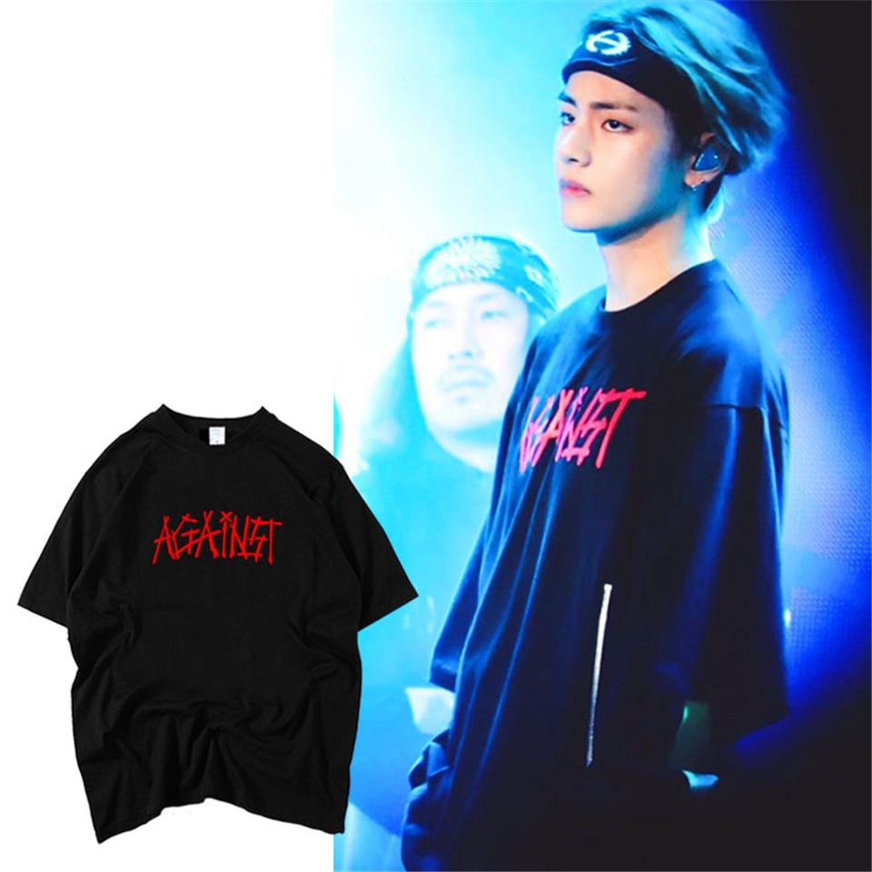LUCKYFRIDAYF Kpop BTS V The Same Style 100% Cotton Summer T-shirt Women Kpop Short Sleeve