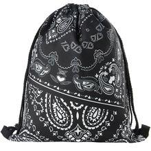 2016 new women drawstring printing backpack fashion shoulder bag casual schoolbags mochila Men's backpacks Graffiti unisex
