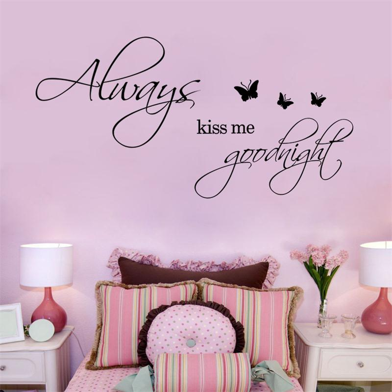 Warm Quote Romantic Kiss Me Goodnight Butterfly Home Decor Wall Sticker  Bedroom Wedding Decoration Diy For