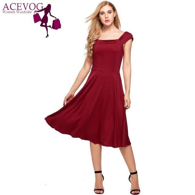 ACEVOG Vintage Kleider Frauen Sommerkleid 2017 Neue Sleeveless Feste ...