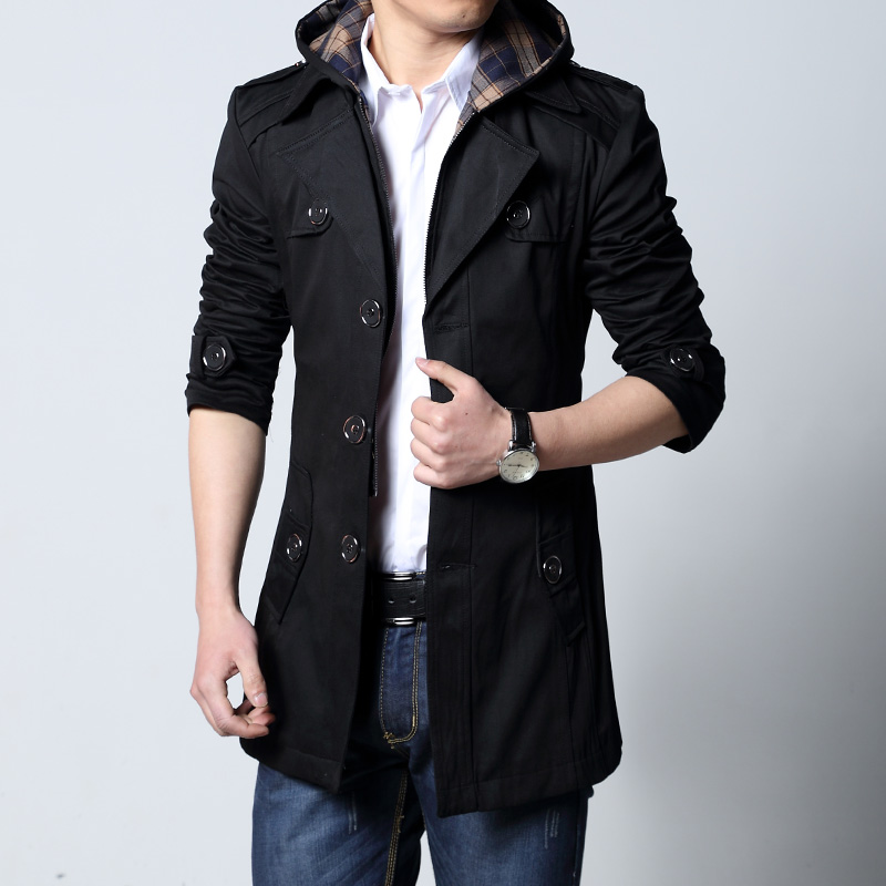 2020 Fashion outwear long coat men trench puls size 5XL male clothing slim fit black and khaki Free shipping