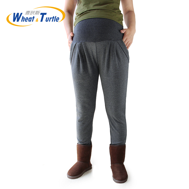 2016 New Design Good Quality Dark Grey Cotton Maternity Pants Thicken Velvet Warm Winter Halan Pants For Pregnant  Size XL-4XL