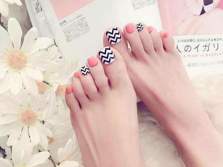 HUAMIANLI Manicure finished fake nails patch toe nail wavy nail J32 ...