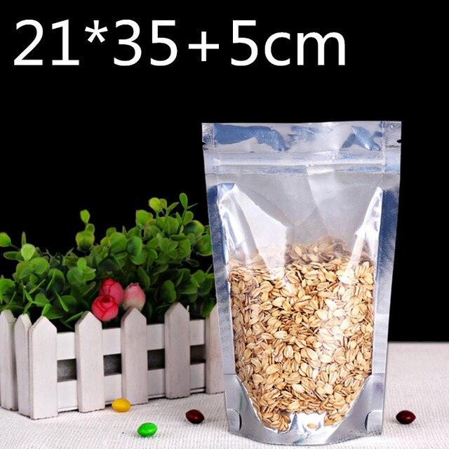 100 pcs Stand up 21x35 cm Plástico Transparente Pacote de Embalagem Da Folha de Alumínio Mylar Bag Auto Vedação Zip ZIpper Saco de Embalagem de bloqueio