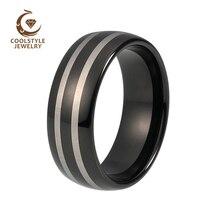 Мм 8 мм черный покрытием с лазерной гравировкой двойной полосатый вольфрам карбида обручальное Ювелирное кольцо на заказ Гравировка