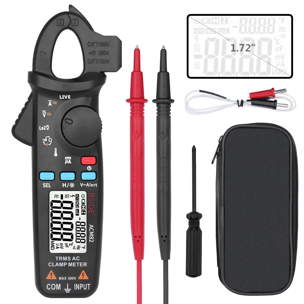 BSIDE ACM82 Mini Digital AC Clamp Meter True RMS Auto Range 0.001A Current Clamp Multimeter Hz Temp Ohm uF V-alert Live CheckBSIDE ACM82 Mini Digital AC Clamp Meter True RMS Auto Range 0.001A Current Clamp Multimeter Hz Temp Ohm uF V-alert Live Check