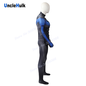 Image 3 - Nightwing Muscle Cosplay Costume Black and Blue Spandex Bodysuit   with Silk Floss Muscle