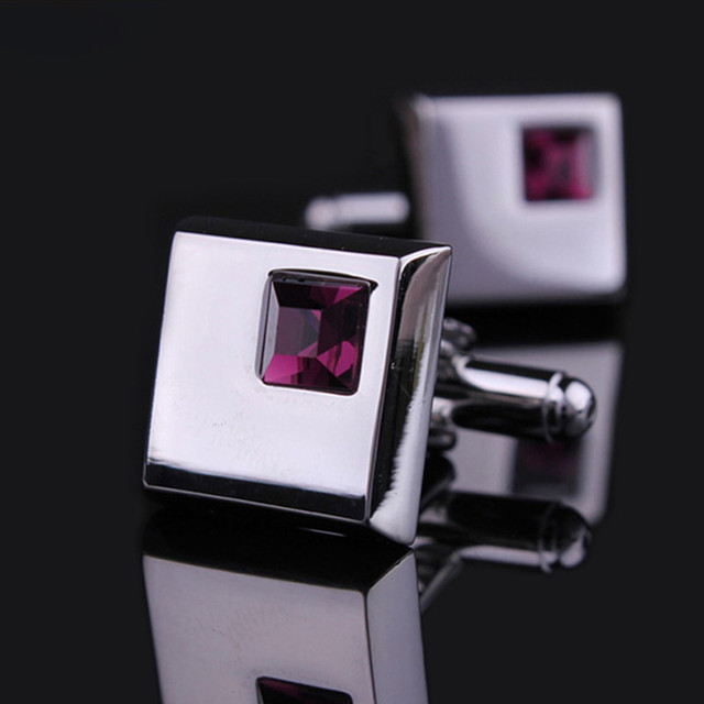 Jewelry Mens Wedding Shirt Cufflinks Silver Color Metal Cuff Links Blue Black Pink Red Purple Crystal