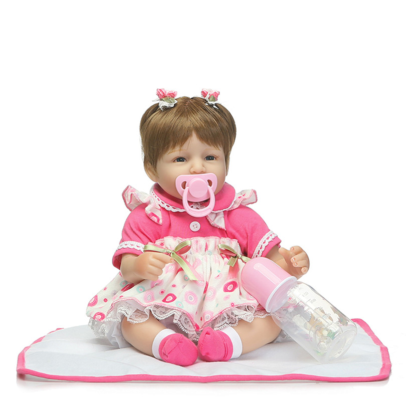 ФОТО Cute Dolls Silicone High-End Handmade Poupee about 40cm Cotton Brinquedos Lifelike Children Realistic 2017 New Dolls