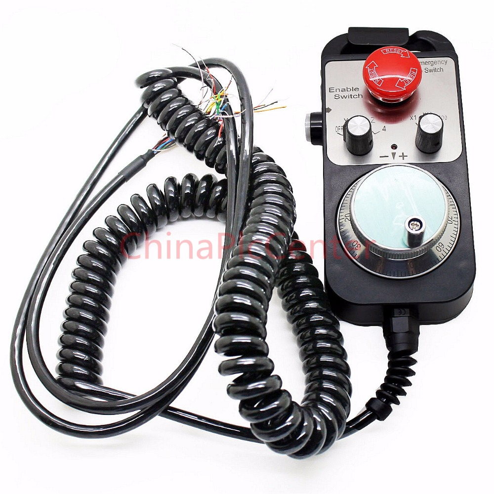 CNC Pulse Generator 4 Axis MPG Pendant Handwheel & Emergency Stop, manual pulse generator for Siemens, MITSUBISHI, FANUC.etc, 5V on sale 4 axis handwheel with emergency stop mpg pendant manual pulse generator for siemens mitsubishi fanuc etc