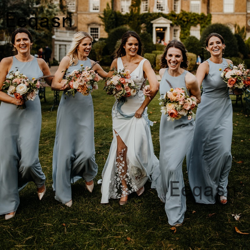 New Long Bridesmaid Dresses 2020 Sexy Sliver A Line Maid Of Honor Dress Country Wedding Party Gown For Women Plus Size