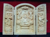 Decorated Boxwood Highly Difficulty Carved Floding Box Buddha Maitreya Statue