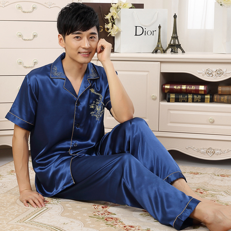 Men's Sleep & Lounge Underwear & Sleepwears 100% Cotton Mens Short-sleeved Pajama Set O-neck Black T-shirt Plaid Trousers Mens Pajamas Autumn Sleepwear Plus Size For 95kg