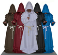 Adult Men Medieval Monks Monk Robe Costume Dress Wizard Dress Clothes Christian Pastor Full Set Halloween Clothes