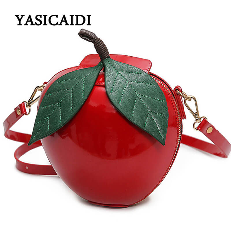 Women Crossbody Bag Christmas Gift Red Circular Apple Bag Fashion Female Messenger Bags Leaves Mini Bags