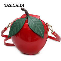 Women Crossbody Bag Christmas Gift Red Circular Apple Bag Fashion Female Messenger Bags Leaves Mini Bags