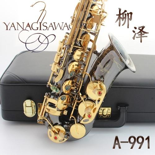 Saxophone Wholesale-Japan Yanagisawa YANAGISAWA new A-991 E Alto Saxophone instrument drop / wind / tube black nickel gold Sax brand suzuki eb alto saxophone as 500n drop e saxophone surface to electroplating black nickel gold the paint sax instrument