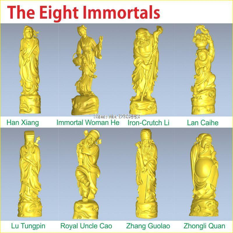 8PCS/LOT The Eight Immortals 3D Model For 4 Axis Circular Diagram 3D Carved Sculpture Cnc Machine In STL File