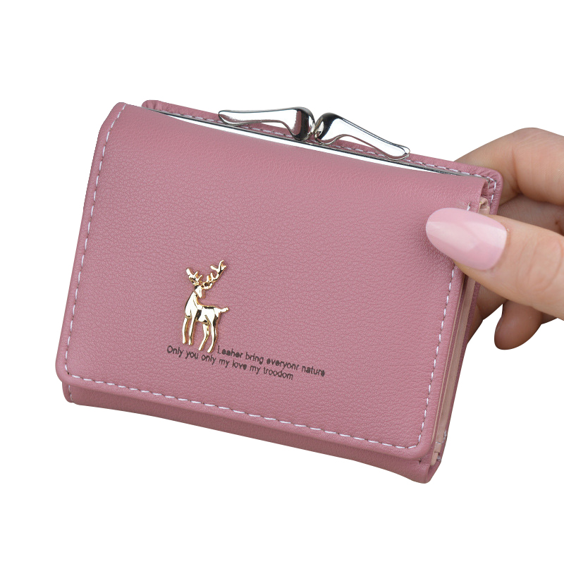 Women Wallet Leather Short Cute Deer Wallet Folding Wallets Clutch Pu Card Holder Ladies Purses Retro Coin Purse Portfel Damski