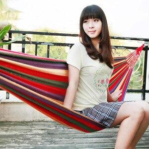 Image 2 - Enkel Dubbel Dikke Canvas Hangmat Outdoor Camping Indoor Leisure Swing Student Slaapzaal Hangmat Artefact Hoge Kwaliteit
