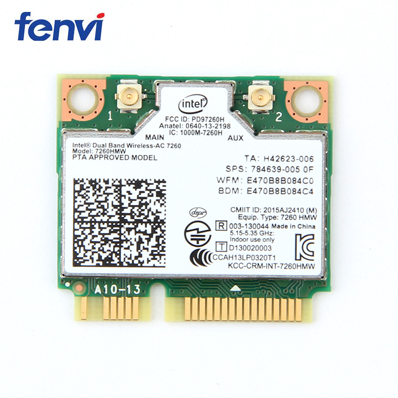 Dual Band Wireless Intel 7260 7260HMW Mini PCI-E Wifi Karte 867 Mbps 802.11ac 2,4G/5 Ghz Bluetooth 4,0 wi-Fi Adapter Für Laptop
