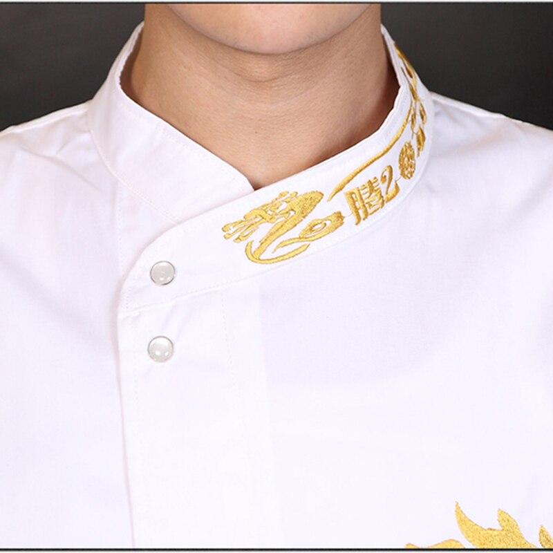 Couleurs Unisexe Broderie Or Dragon Motif Chef Manteau Veste - Broderie veste de cuisine